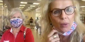 Victoria Redstall seen with a companion at Wells Fargo, recording on her Facebook live