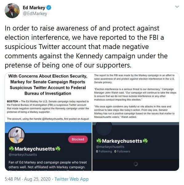Ed Markey Report Tweet FBI