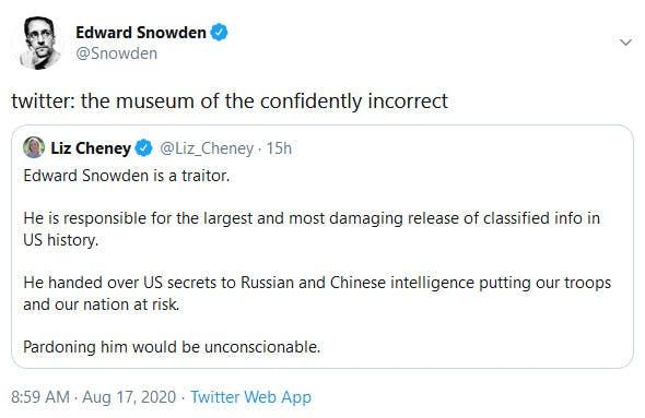 Edward Snowden Response Liz Cheney Tweet
