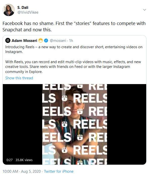 Facebook Instagram Reels TikTok