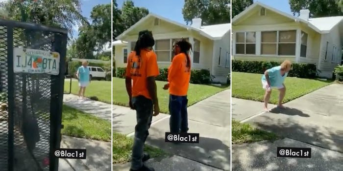 white woman yells racist slurs at Black landscapers