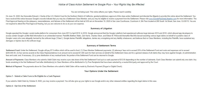 Google Plus Settlement Email Gmail