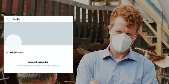 Joe Kennedy Dinosaurs Saying Fuck CursingDinosaur Account Suspended Twitter