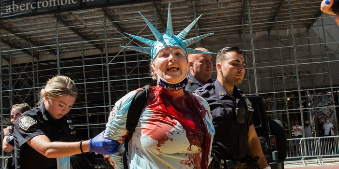 Juliett Germanotta, dressed as Statue of Liberty, vandalized the Black Lives Matter mural outside of Trump Tower Fifth Avenue