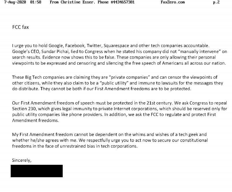 Liberty Counsel Action Section 230 Petition FCC Public Comments