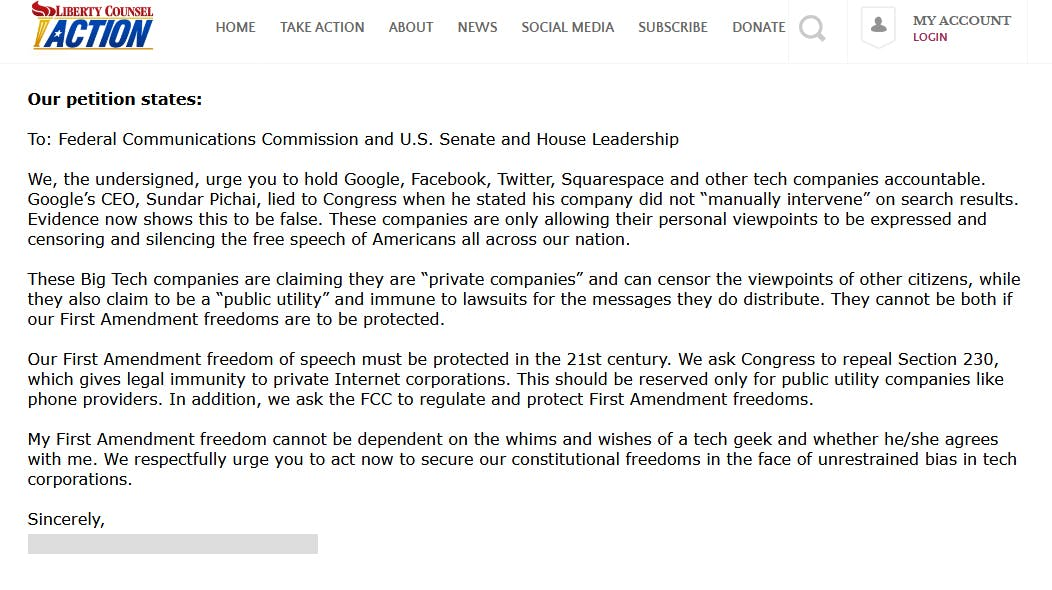 Liberty Counsel Section 230 FCC Petition Form
