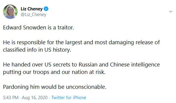 Liz Cheney Edward Snowden Tweet