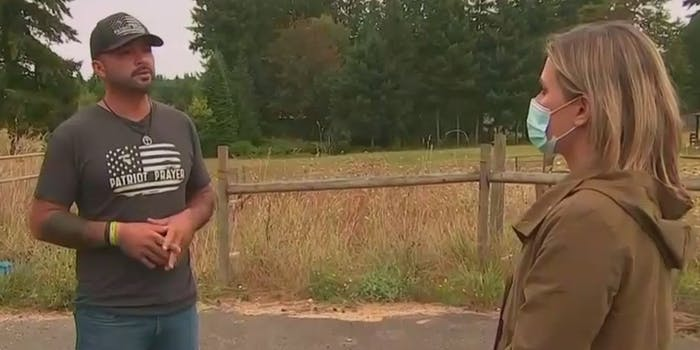 The founder of Patriot Prayer being interviewed by MSNBC