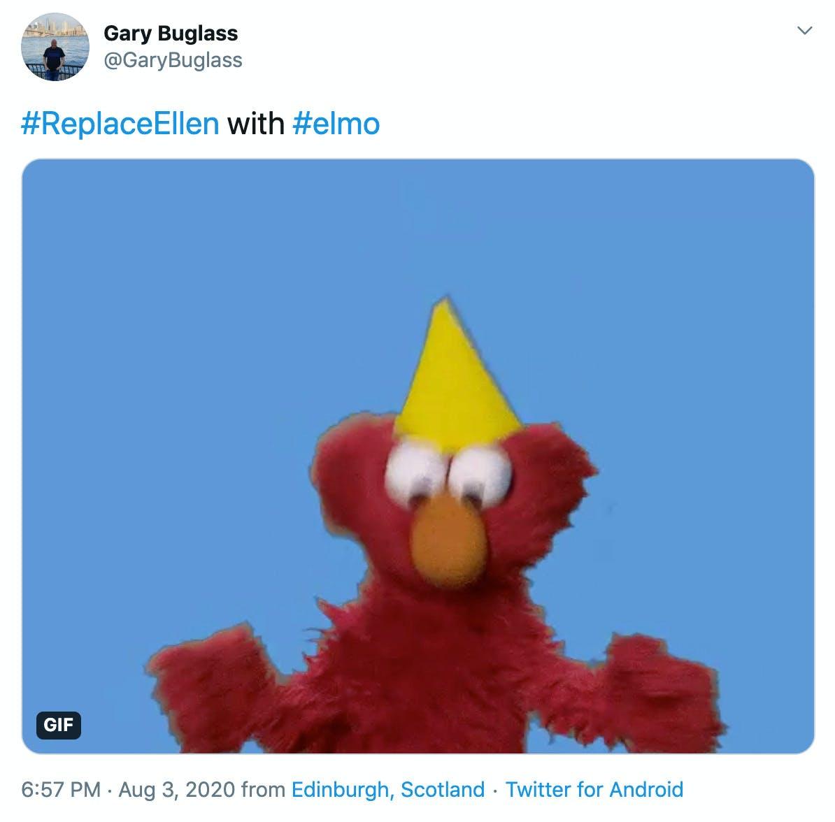 """""""#ReplaceEllen with #elmo"""" image of Elmo dancing"""