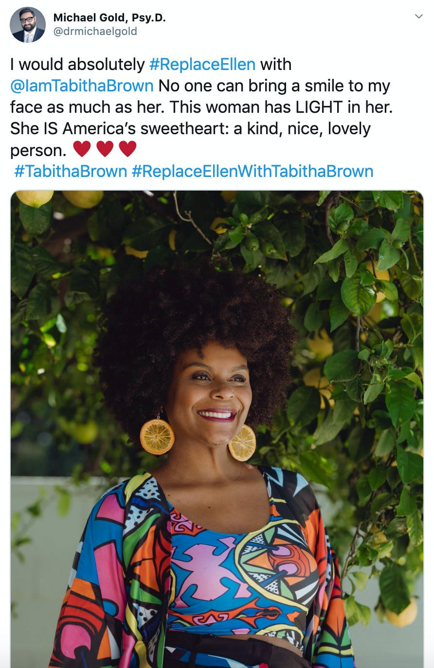 """""""I would absolutely #ReplaceEllen with  @IamTabithaBrown  No one can bring a smile to my face as much as her. This woman has LIGHT in her. She IS America's sweetheart: a kind, nice, lovely person. ♥️♥️♥️ #TabithaBrown #ReplaceEllenWithTabithaBrown"""" image of Tabitha Brown smiling below a tree"""
