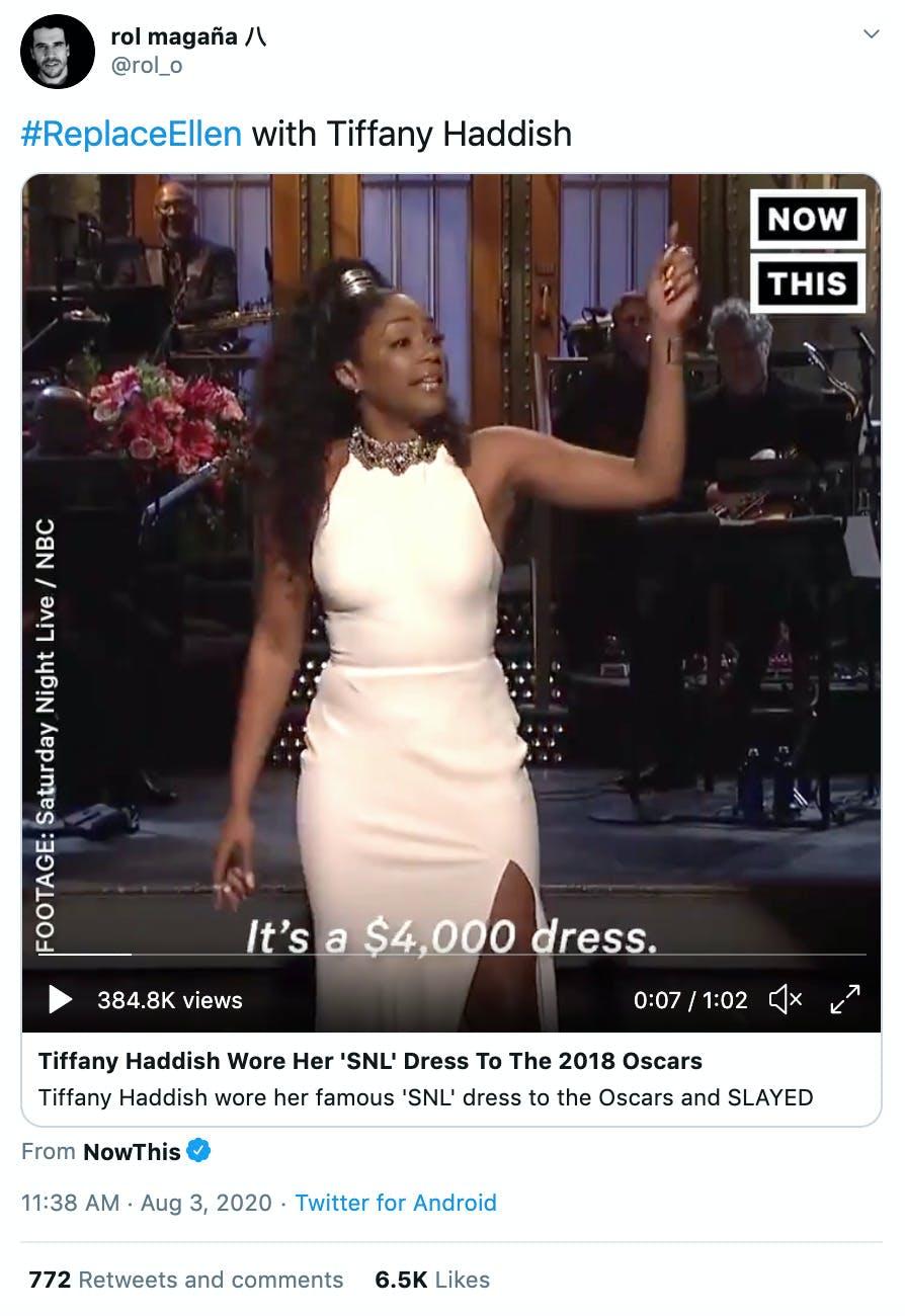 """#ReplaceEllen with Tiffany Haddish"" image of Tiffany Haddish in her white Oscars dress"