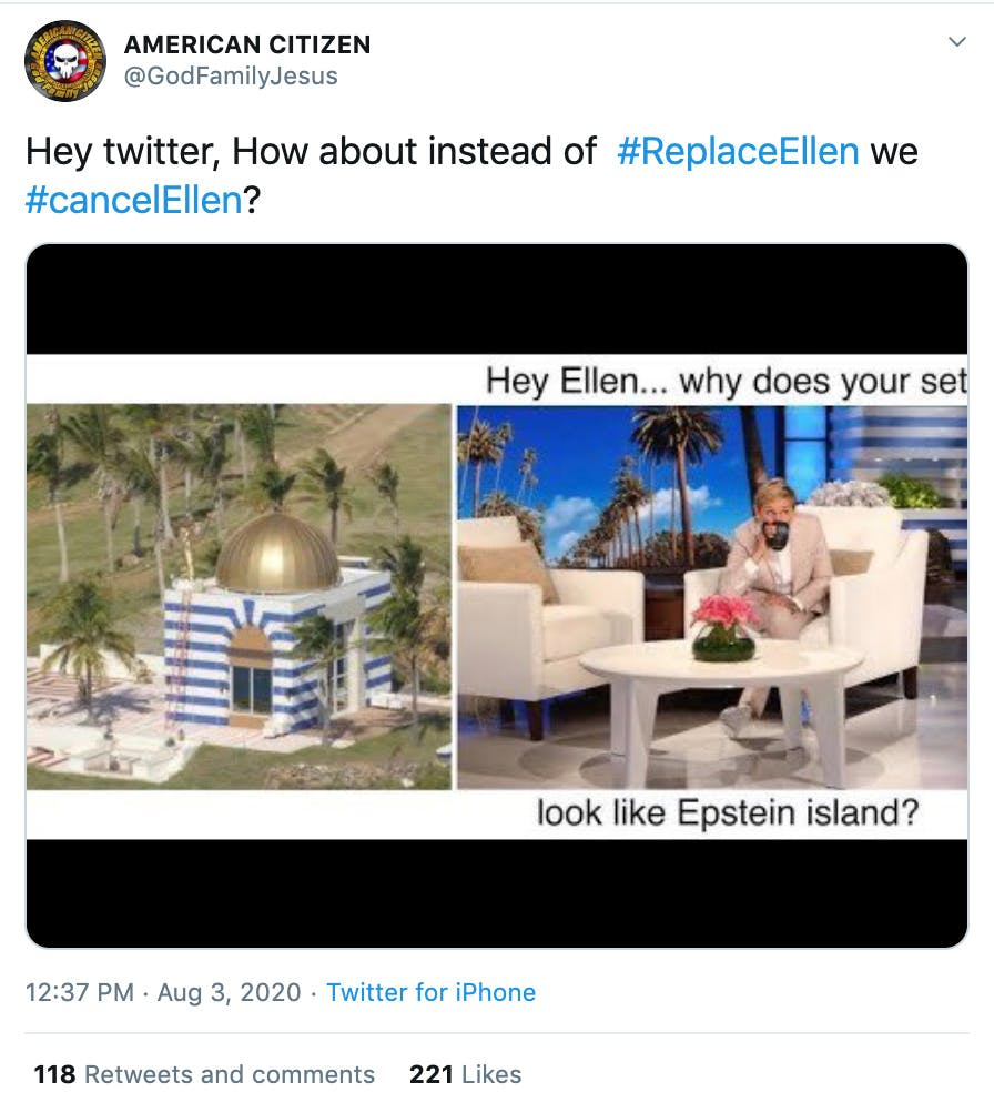 """""""Hey twitter, How about instead of  #ReplaceEllen we #cancelEllen?"""" image of her set next to the temple from Epstein's island with text saying  """"Hey Ellen why does your set look like Epstein Island?"""""""