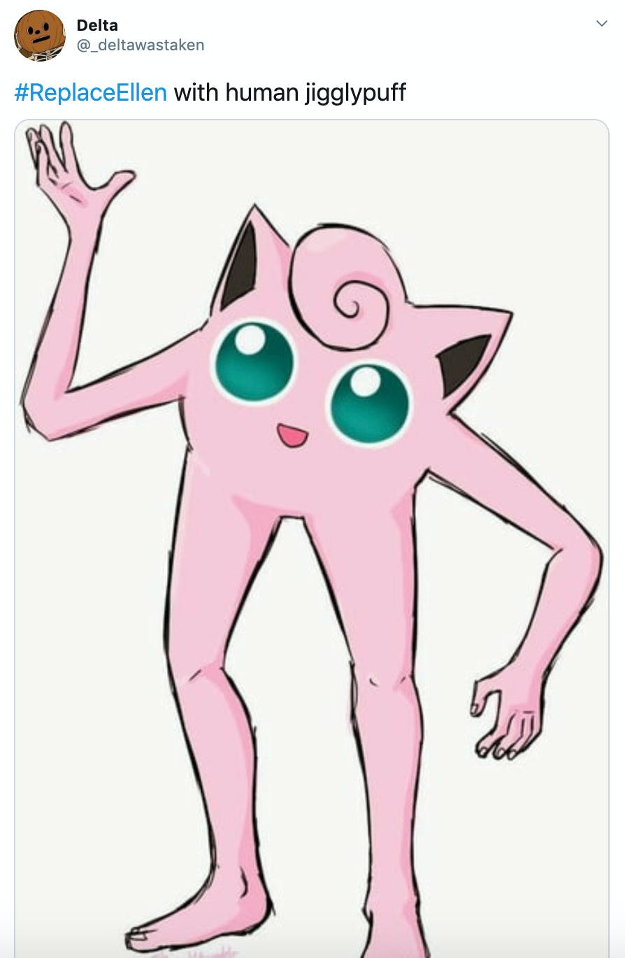 """""""#ReplaceEllen with human jigglypuff"""" image of jiggly puff with long human limbs"""
