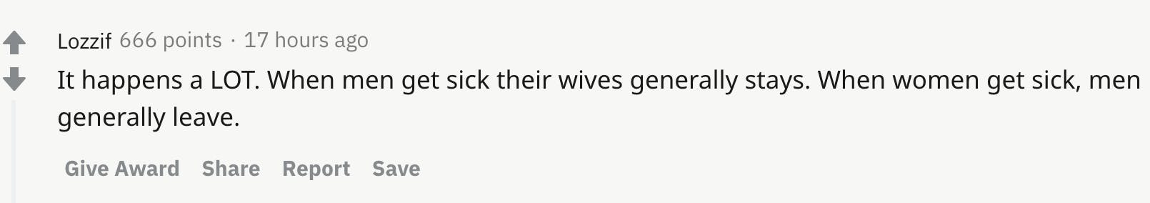 It happens a LOT. When men get sick their wives generally stays. When women get sick, men generally leave.