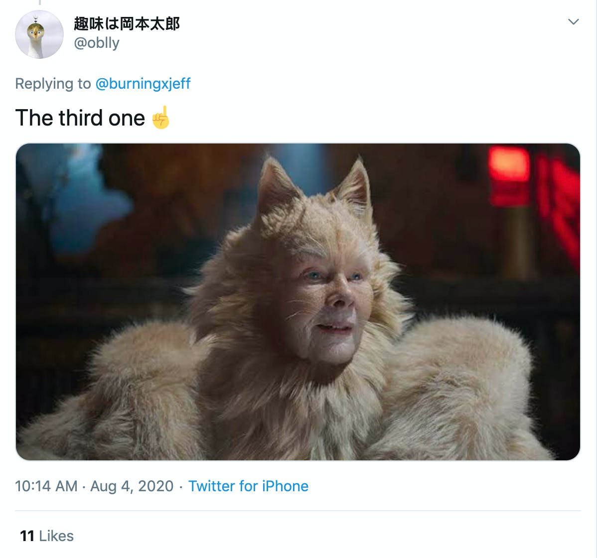"""The third one☝️"" image of Judy Dench from Cats"