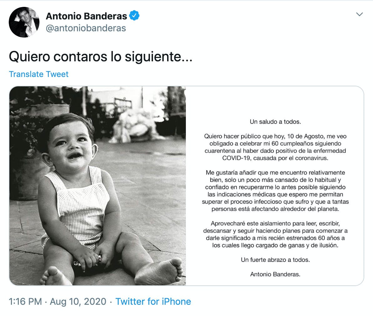"""""""https://twitter.com/antoniobanderas/status/1292797071909691393""""  black and white photo of a small child smiling and screenshot of the statement that's translated below"""