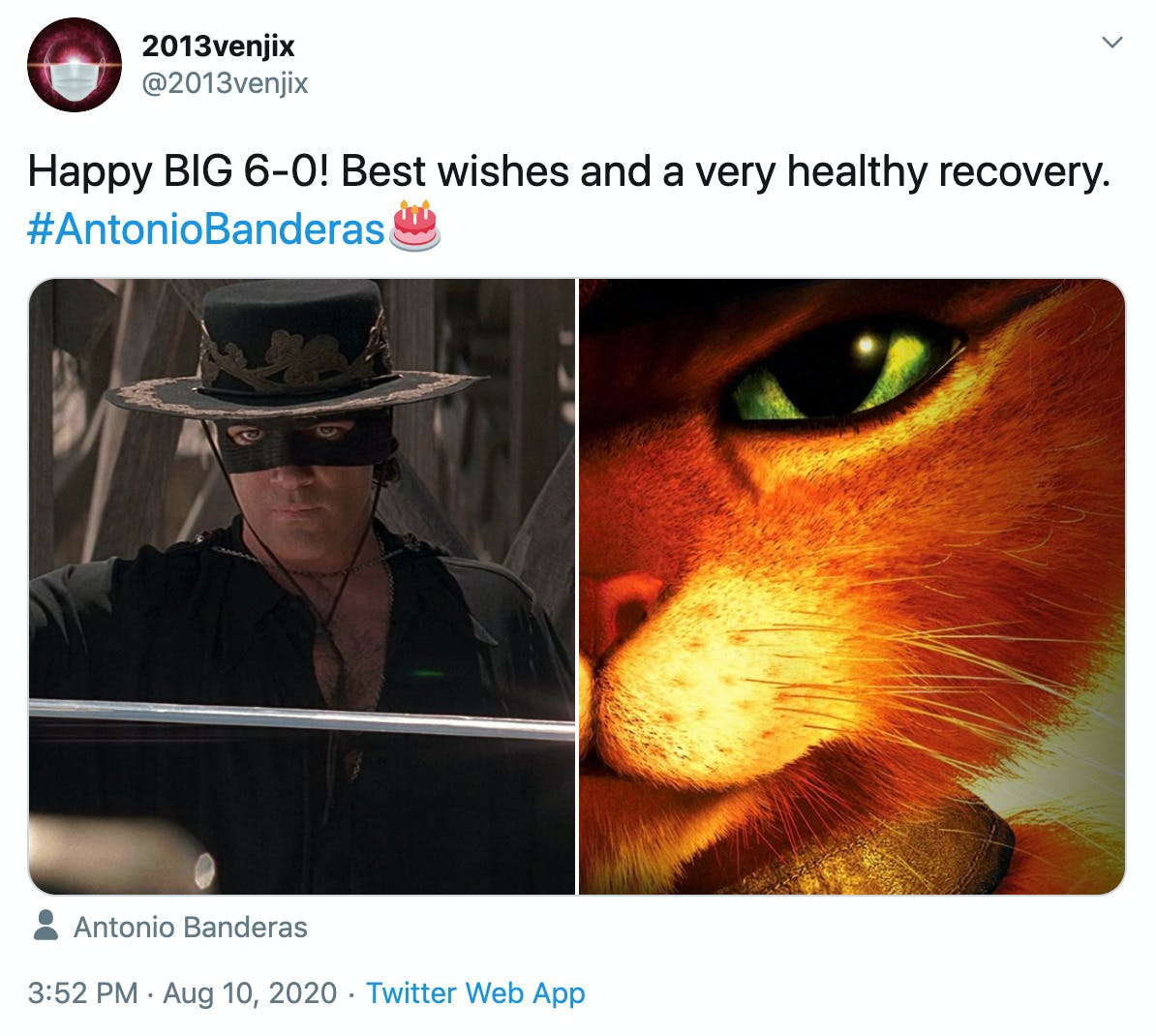 """""""Happy BIG 6-0! Best wishes and a very healthy recovery. #AntonioBanderas🎂"""" picture of him as Zorro and picture of Puss in Boots"""