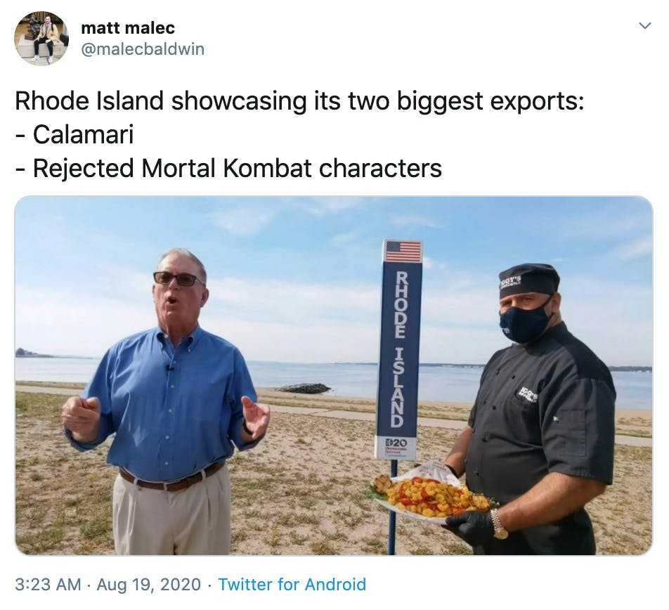 """""""Rhode Island showcasing its two biggest exports: - Calamari - Rejected Mortal Kombat characters"""" still from the roll call video"""