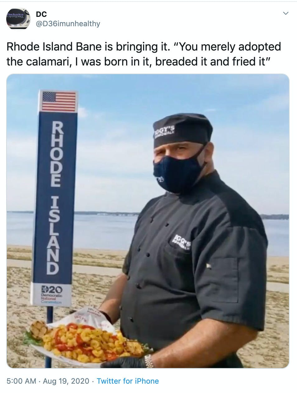 """""""Rhode Island Bane is bringing it. """"You merely adopted the calamari, I was born in it, breaded it and fried it"""""""" close up of the masked chef"""