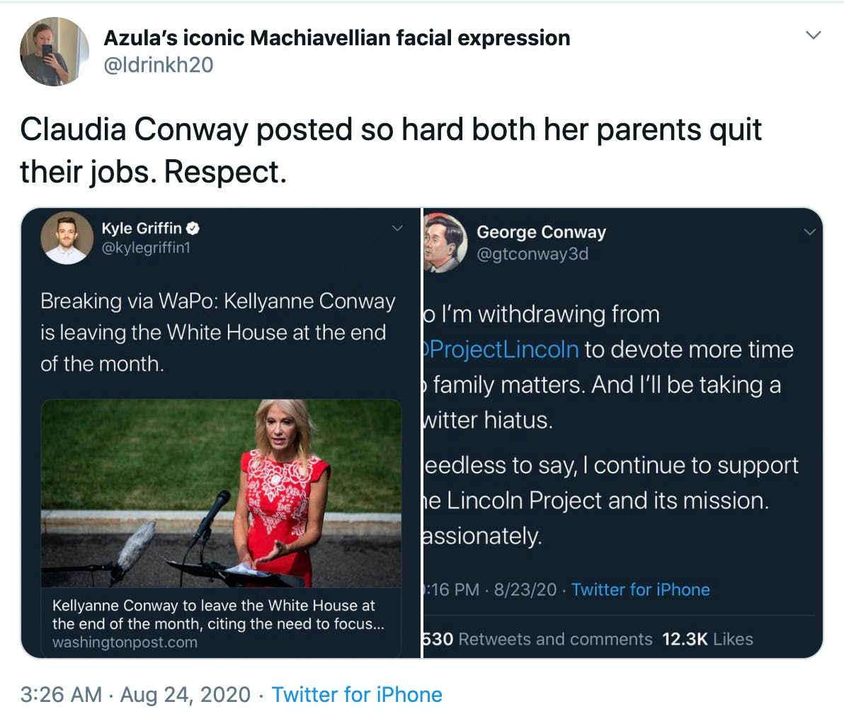 """Claudia Conway posted so hard both her parents quit their jobs. Respect."" Screenshots of both the parents resignation tweets"