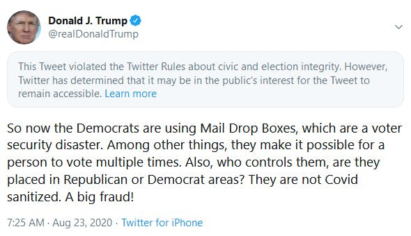 Trump tweet civic and election integrity