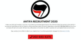 antifa recruitment site ben shapiro
