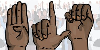 """illustrated hands signing """"B L M"""" in American Sign Language in front of protest"""