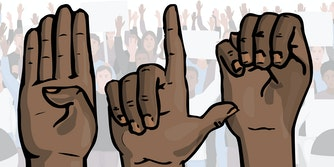 "illustrated hands signing ""B L M"" in American Sign Language in front of protest"