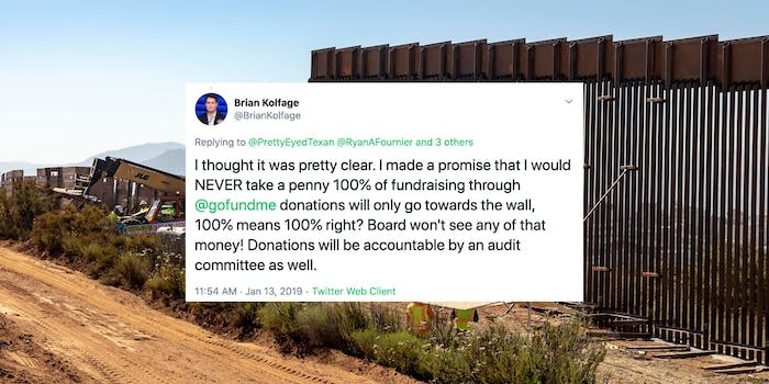 A tweet from Brian Kolfage in front of a border wall