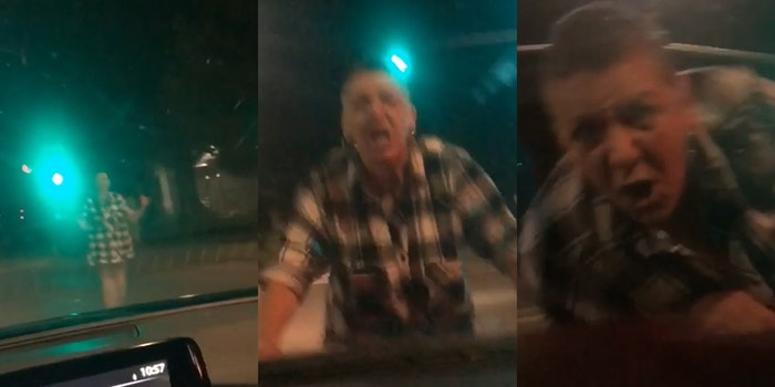 woman jumping on and pounding hood of car