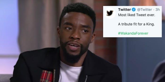 Chadwick Boseman next to a tweet from Twitter