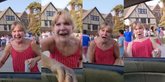 elderly woman at frat party drunkenly leans into a car