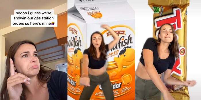 woman dancing in front of goldfish snacks and twix bars