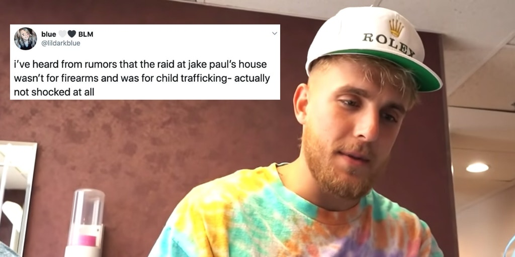 Jake Paul next to a tweet about a child trafficking conspiracy