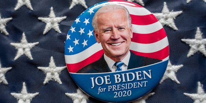 joe biden for president pin on American flag