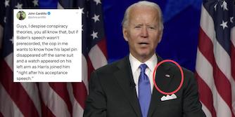 A tweet next to Joe Biden about a conspiracy