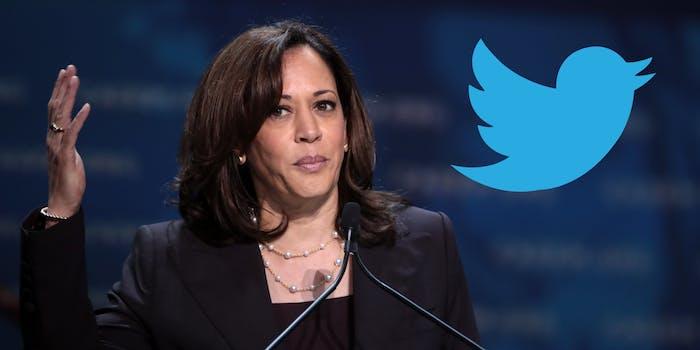 Kamala Harris next to the Twitter logo