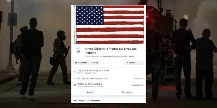 """""""armed citizens to protect our lives and property"""" facebook event"""
