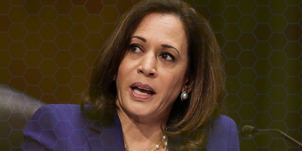 Kamala Harris with beehive background