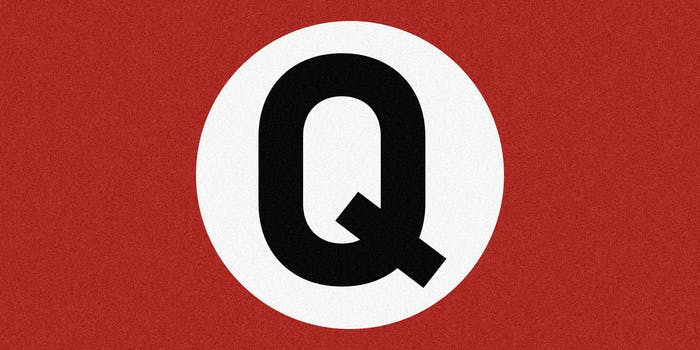 Q replaces swastika in white circle on red field