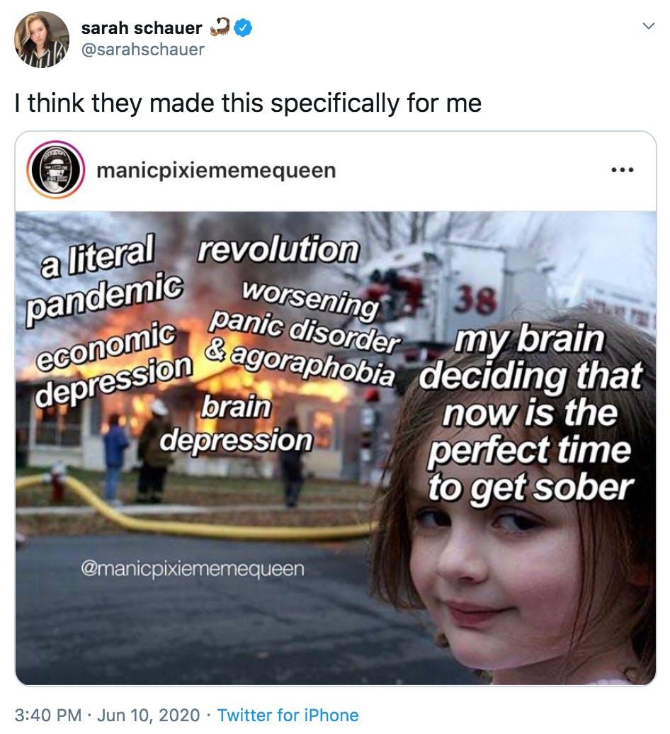 sarah schauer sober meme