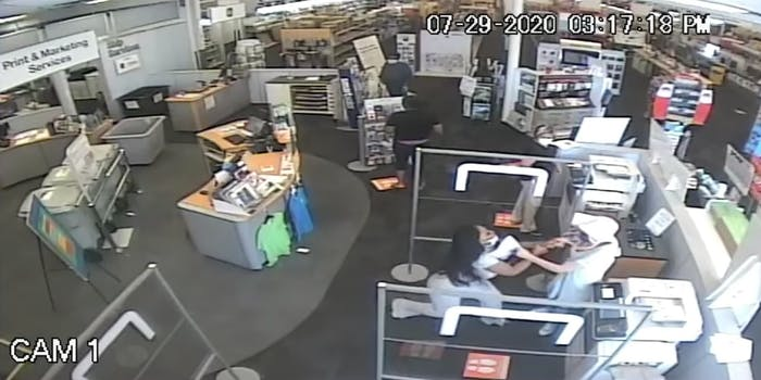 Surveillance video of an altercation at a Staples