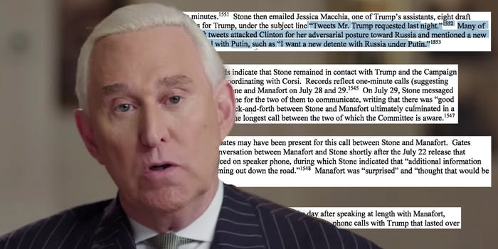 Roger Stone next to text from a Senate intel report