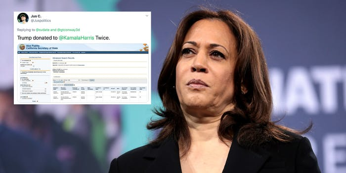 Kamala Harris next to a tweet about donations from Trump