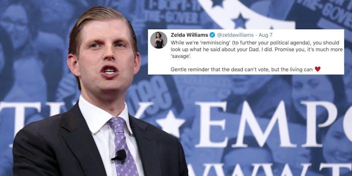 Eric Trump next to a tweet from Zelda Williams