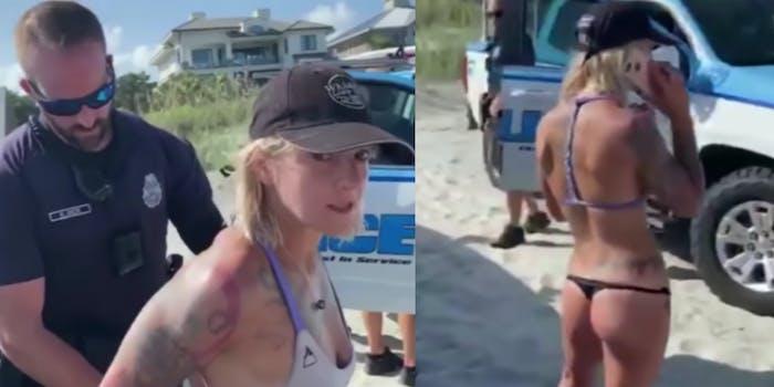 police detain woman for wearing thong bikini on beach