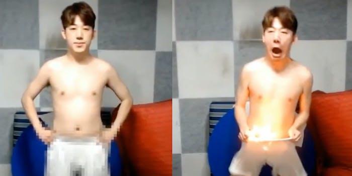 Shin Tae Il sets crotch on fire