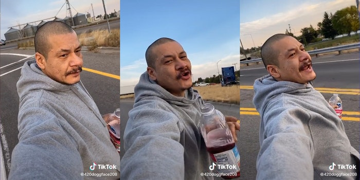 """man skateboarding with cranberry juice while singing """"dreams"""" by fleetwood mac"""