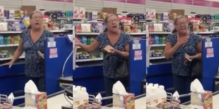 woman in 99 cent store screaming about not wearing a mask