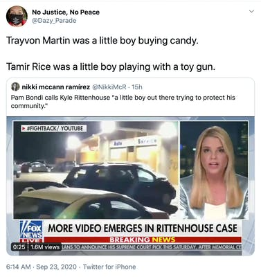 Trayvon Martin was a little boy buying candy.  Tamir Rice was a little boy playing with a toy gun.